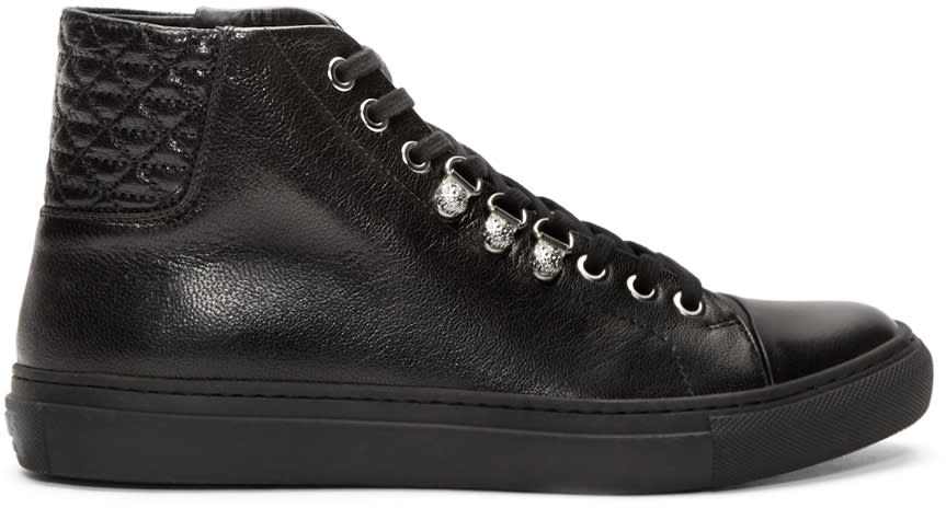 Versus Black Quilted Leather Sneakers