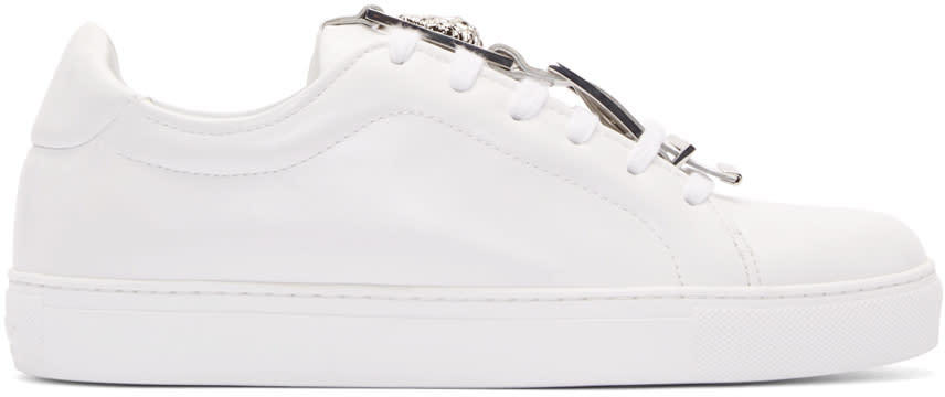 Versus White Leather Buckle Low-top Sneakers