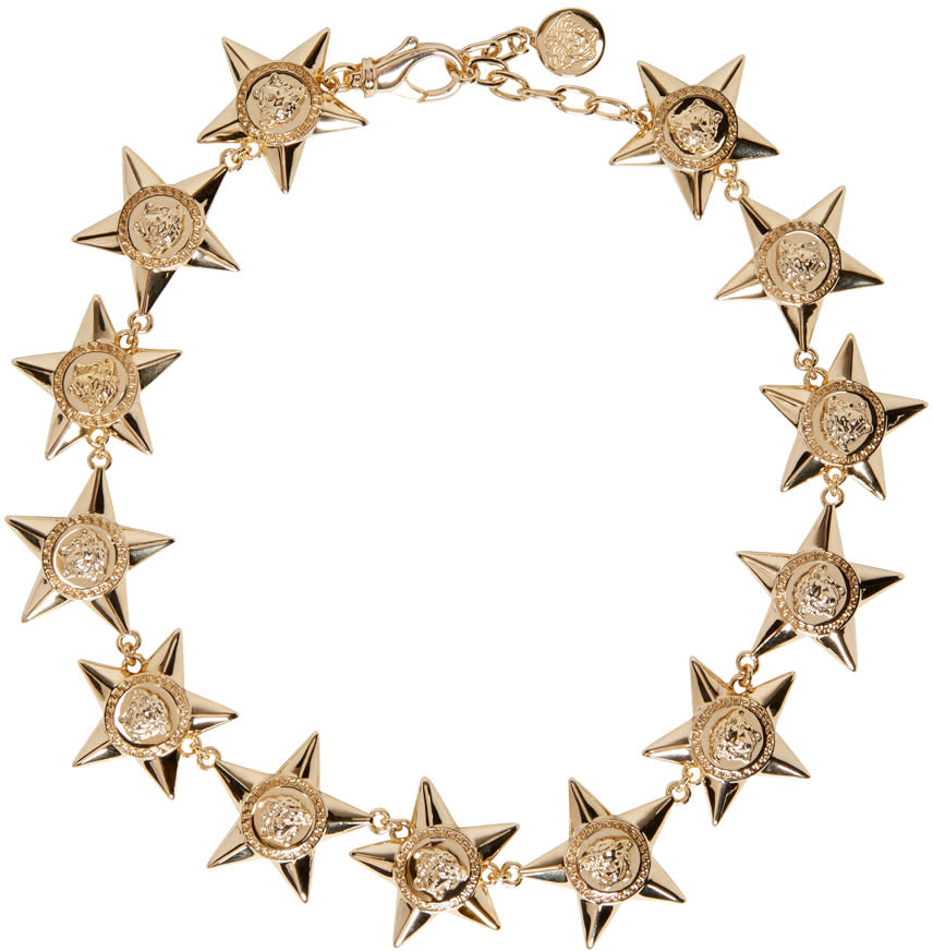 Versace Gold Medusa Stars Necklace