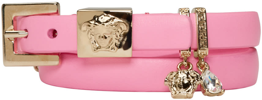 Versace Pink Leather Charm Bracelet