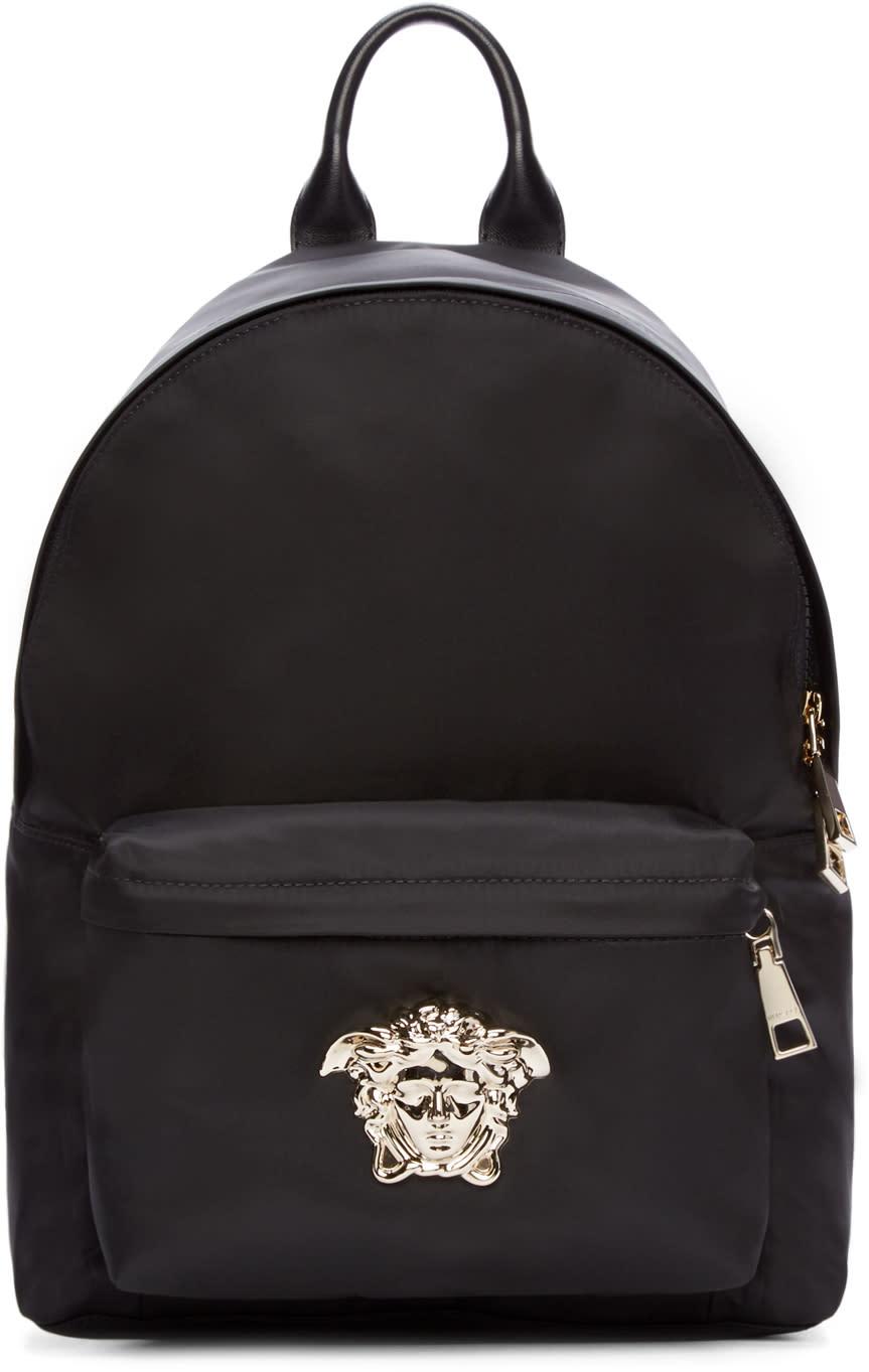 Versace Black and Silver Nylon Medusa Backpack