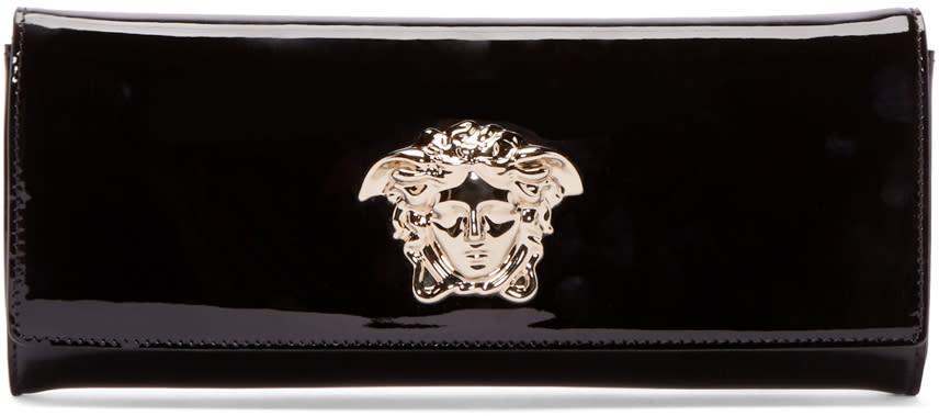 Versace Black Patent Medusa Clutch