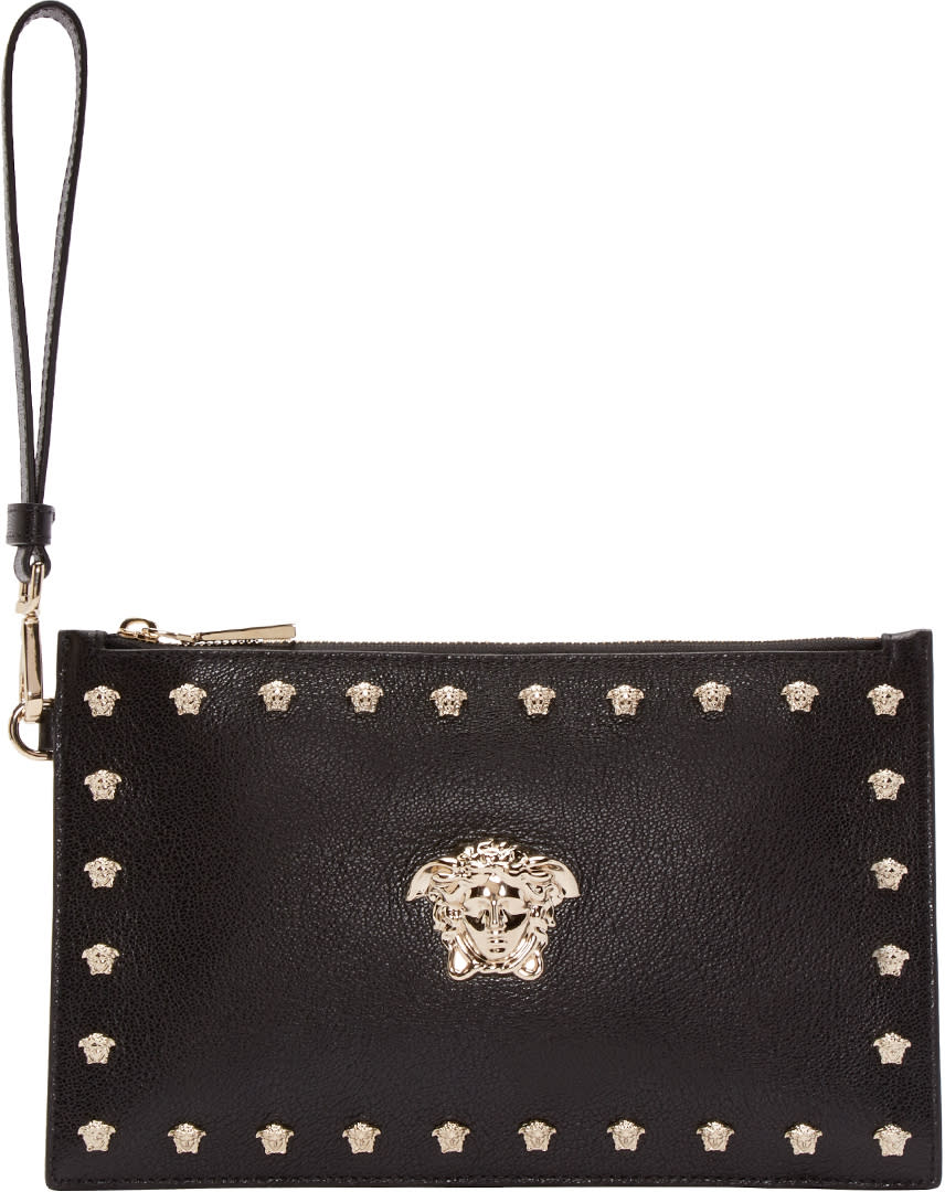 Versace Black Leather Medusa Pouch