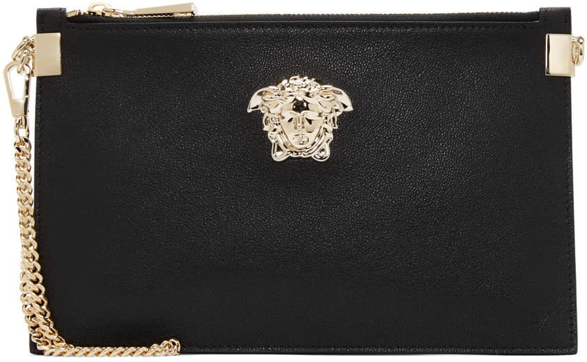 Versace Black Leather Medusa Medallion Pouch