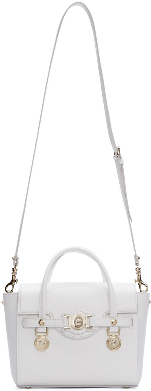 Versace White Leather Medusa Medallion Satchel