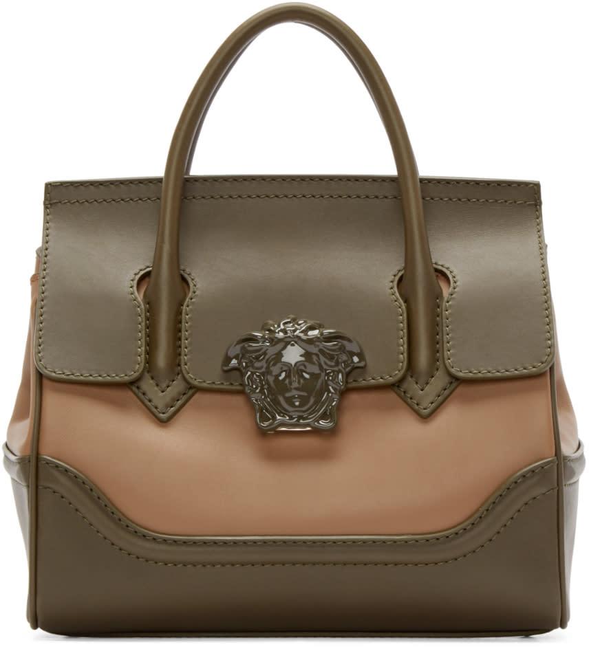 Versace Green and Tan Medium Palazzo Bag