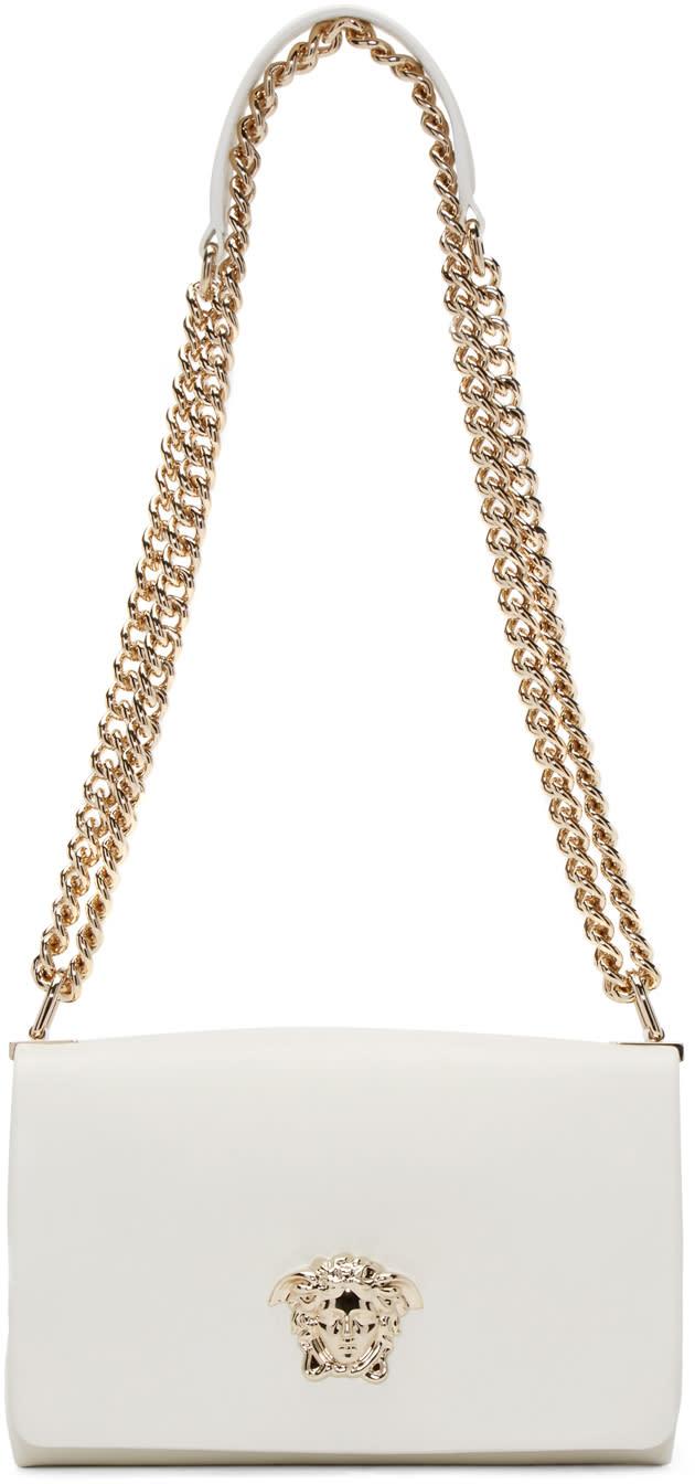 Versace ホワイトレザーのラージサイズ メドゥーサ バッグ