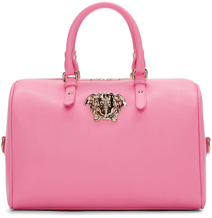 Versace Pink Leather Medusa Head Duffle Bag