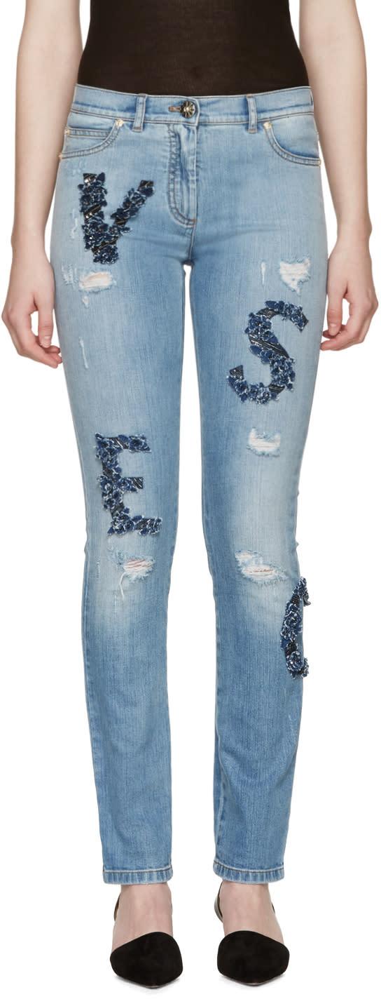 Versace Blue Embellished Letters Jeans