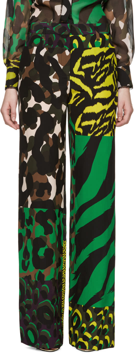 Versace Multicolor Silk Wild Trousers