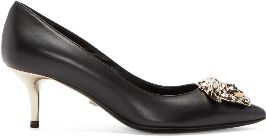 Versace Black Leather Medusa Heels