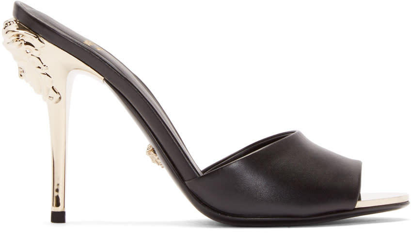 Versace Black Leather Medusa Mules