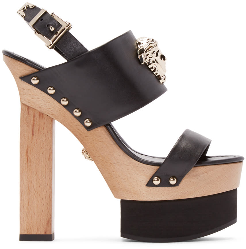 Versace Black Leather Platform Heels