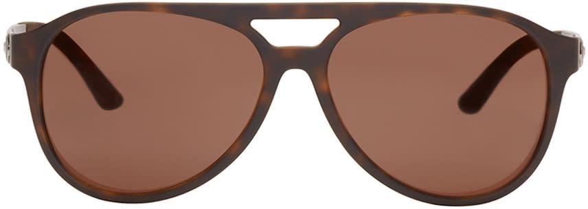 Versace Tortoiseshell Vintage Aviator Sunglasses
