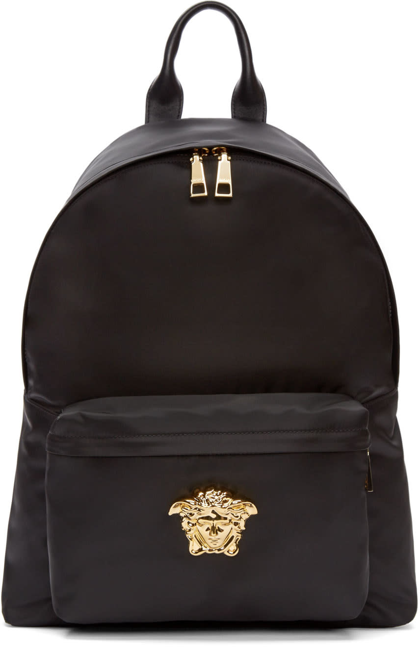 Versace Black and Gold Nylon Medusa Backpack 7f04497e03