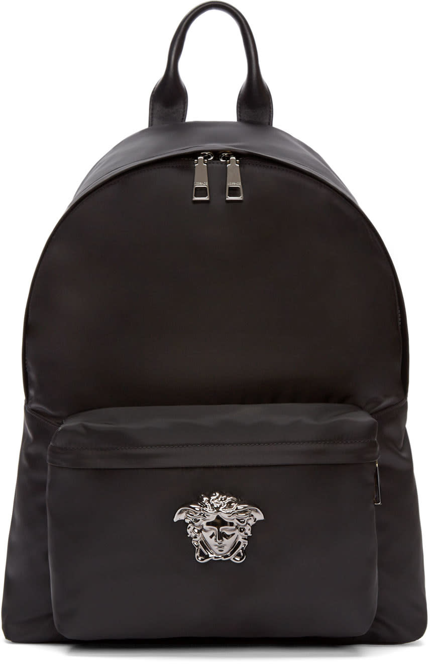 Versace Black and Gunmetal Nylon Medusa Backpack