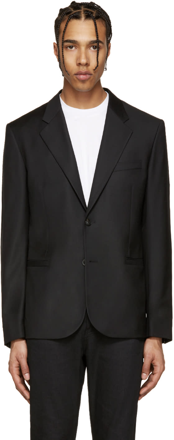 Versace Black Wool Gabardine Blazer