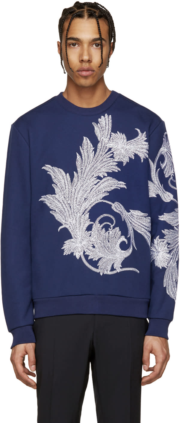 Versace Blue and White Embroidered Leaf Pullover