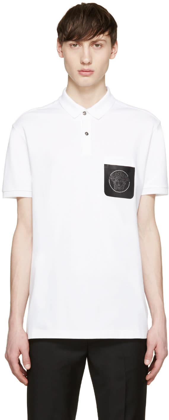 Versace White Medusa Pocket Polo