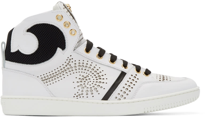 Versace White and Black Perforated High-top Sneakers
