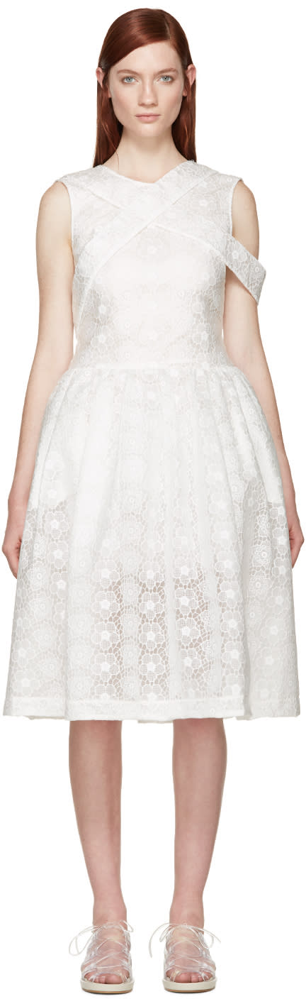 Simone Rocha White Bonded Lace Dress