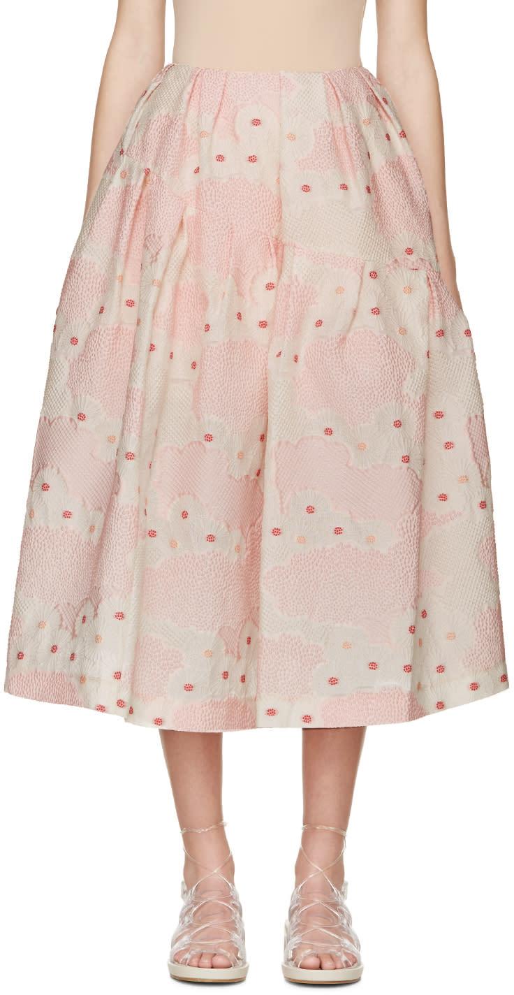 Simone Rocha Pink Floral Cloque Skirt