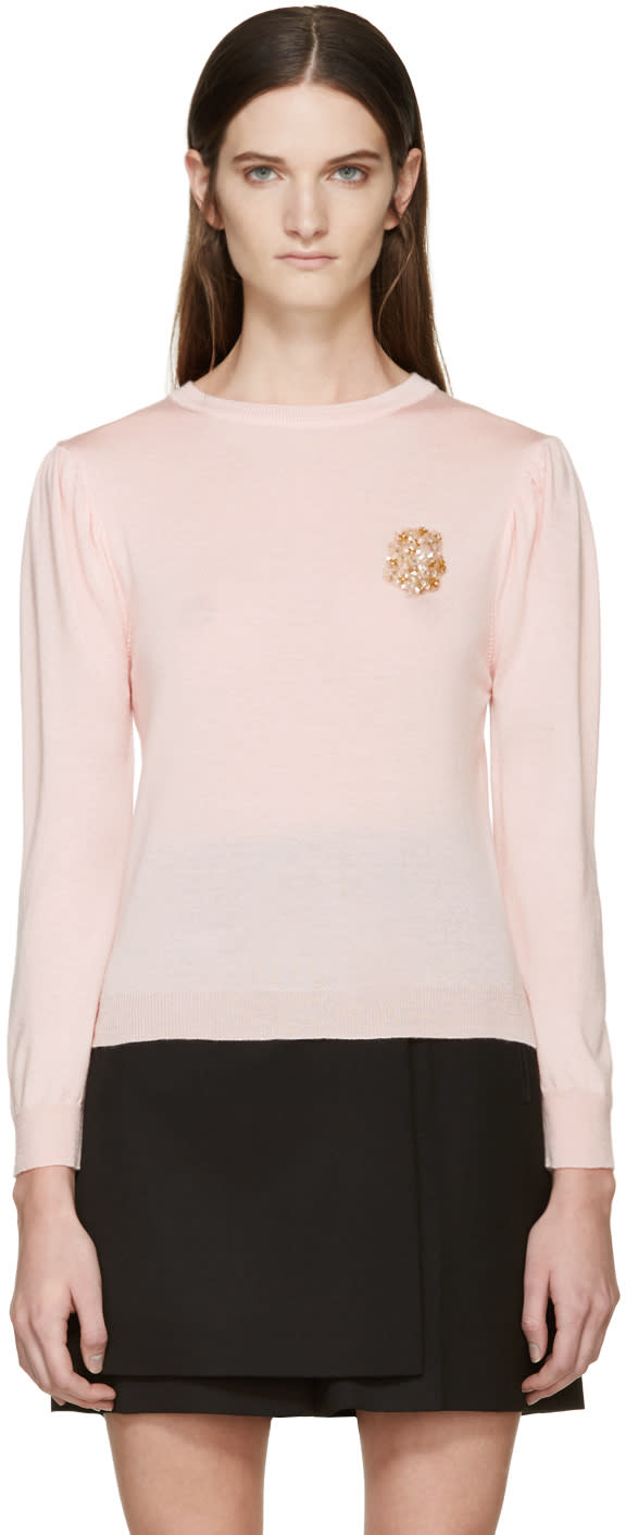 Simone Rocha Pink Beaded Applique Sweater