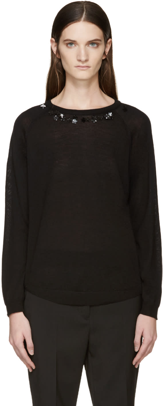 Simone Rocha Black Beaded Collar Sweater
