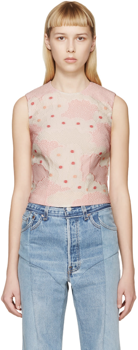 Simone Rocha Pink Floral Cloque Top