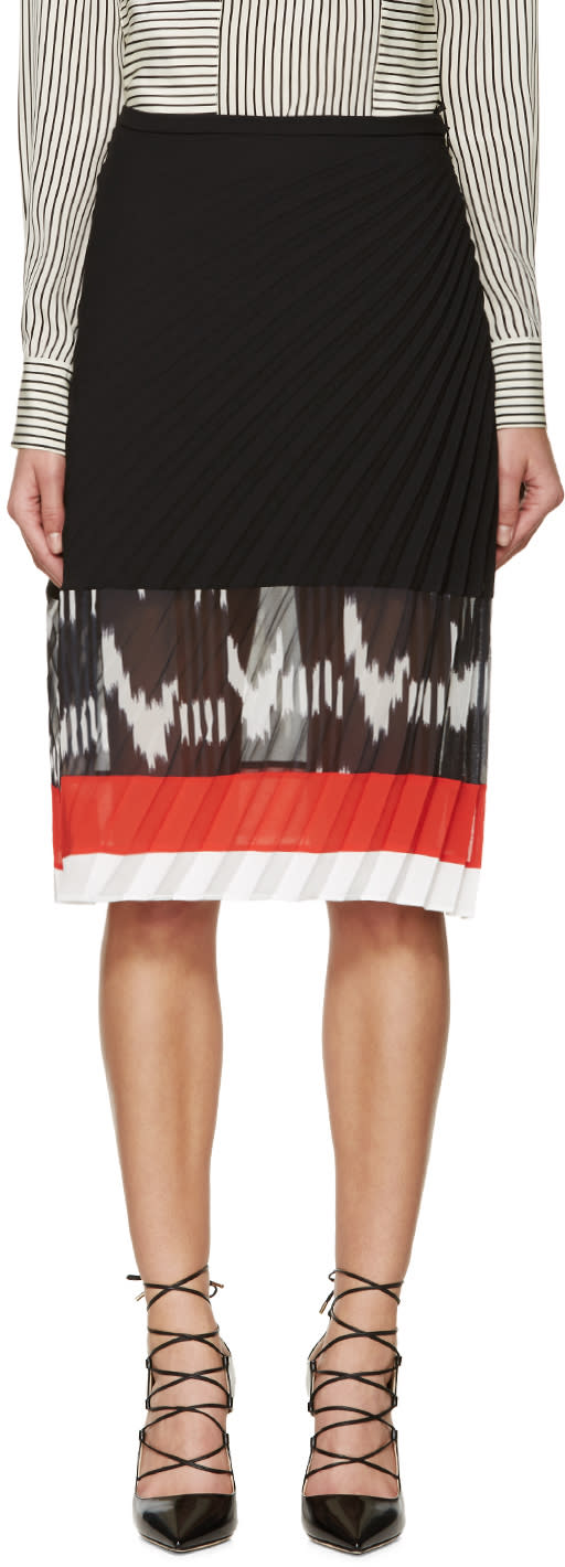 Image of Altuzarra Black Diagonal Pleat Camille Skirt