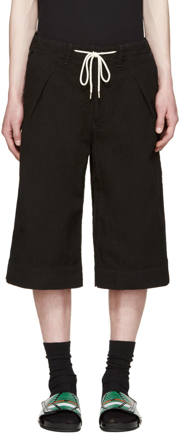 Sasquatchfabrix Black Textured Sashico Hakama Shorts