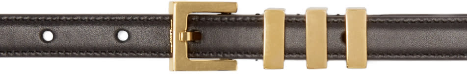 Saint Laurent Black and Gold 3 Passants Belt