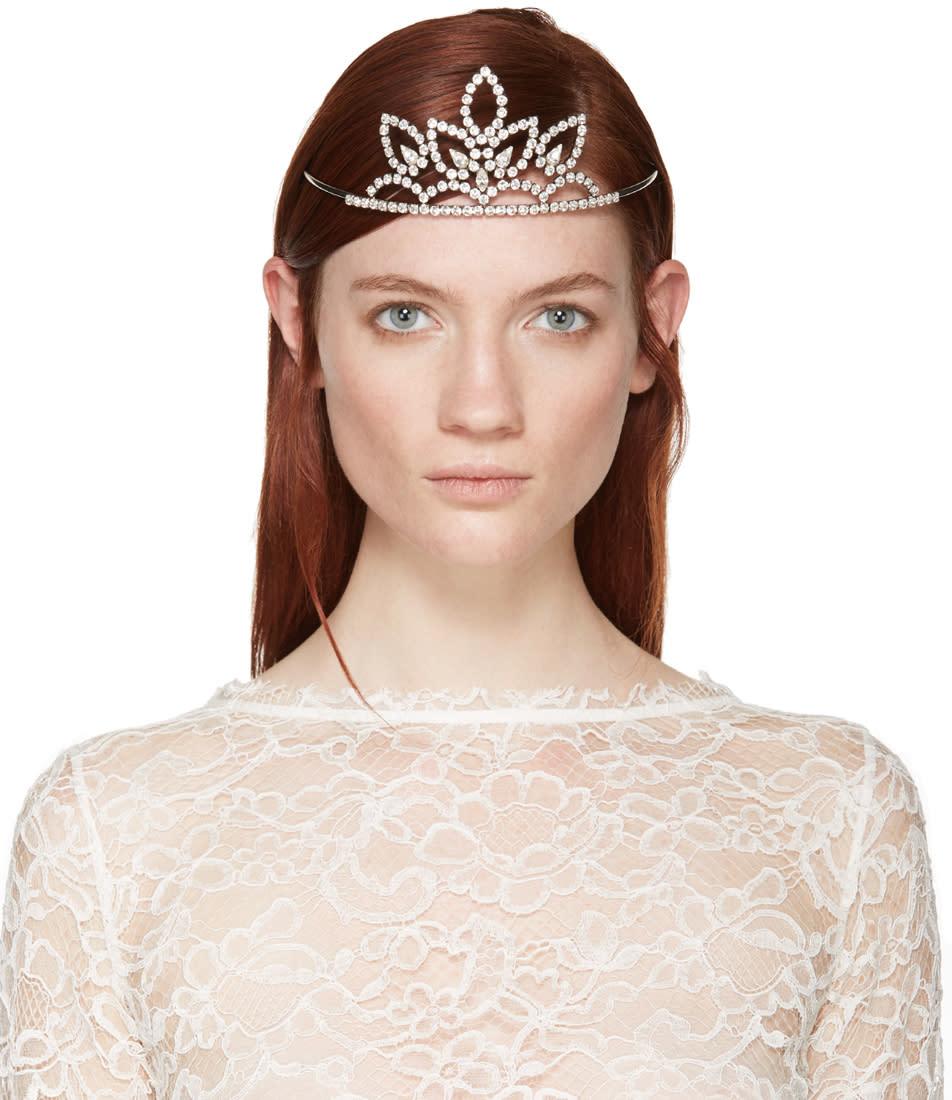 Saint Laurent Silver Crystal Diadème 4 Tiara