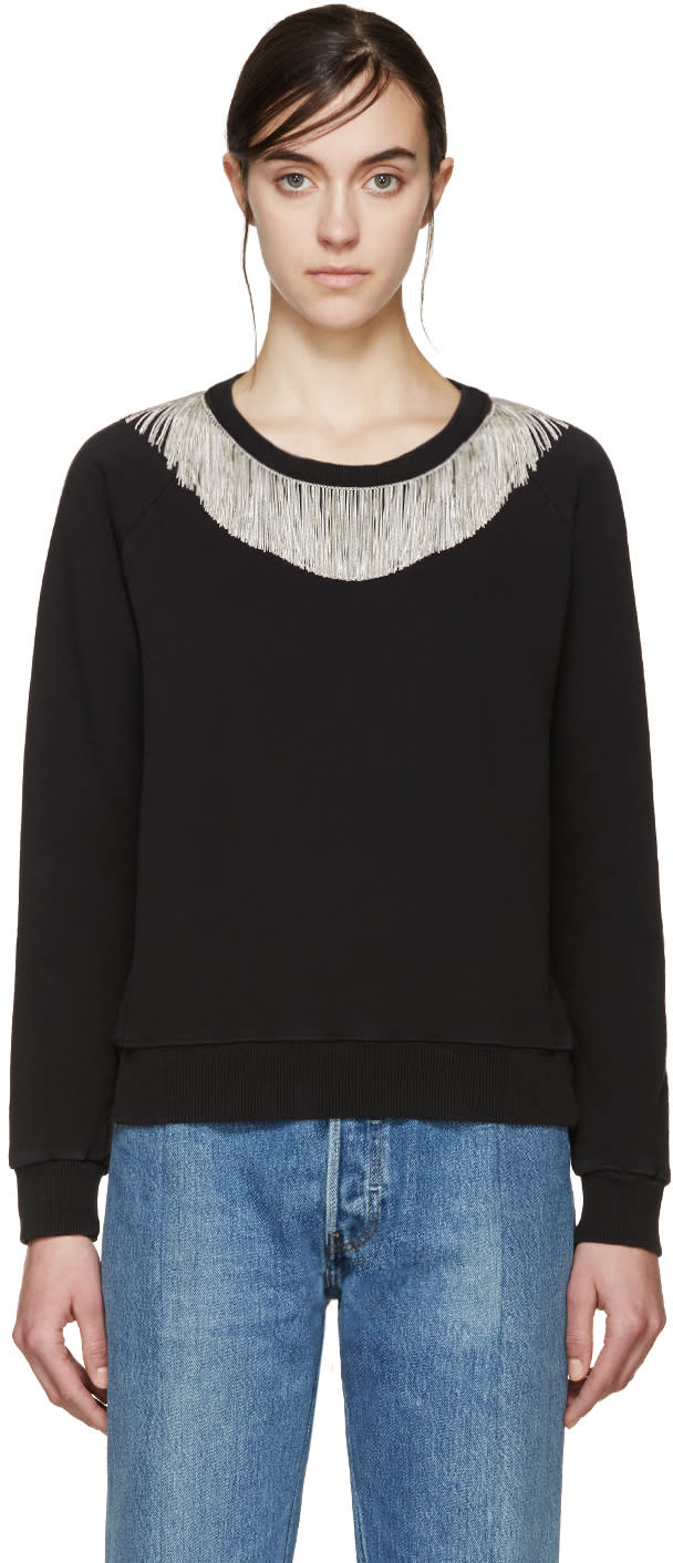 Saint Laurent Black and Silver Fringed Pullover