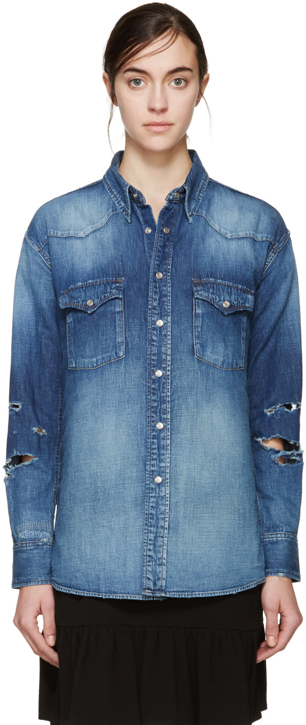Saint Laurent Blue Denim Western 70s Trash Shirt