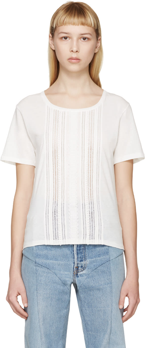 Saint Laurent White Broderie Anglaise T-shirt