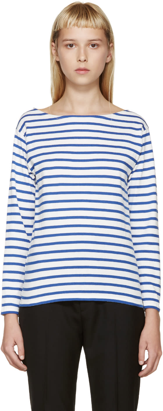 Saint Laurent Blue and White Striped T-shirt