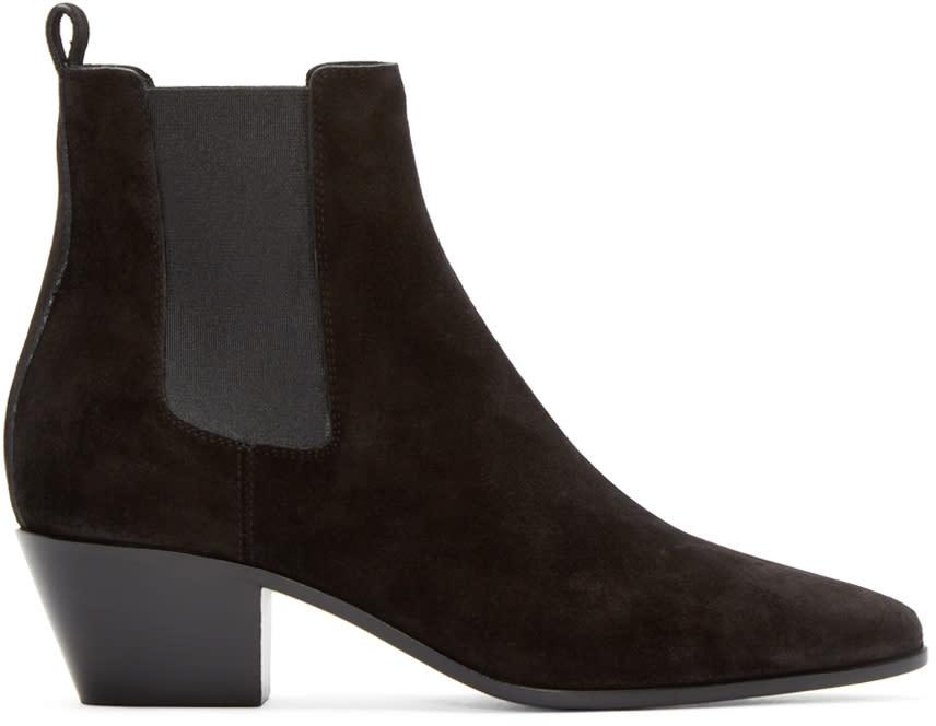 Saint Laurent Black Suede Wyatt Rock Boots
