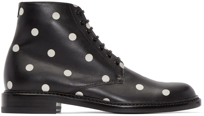 Saint Laurent Black and White Polka Dot Lolita Boots