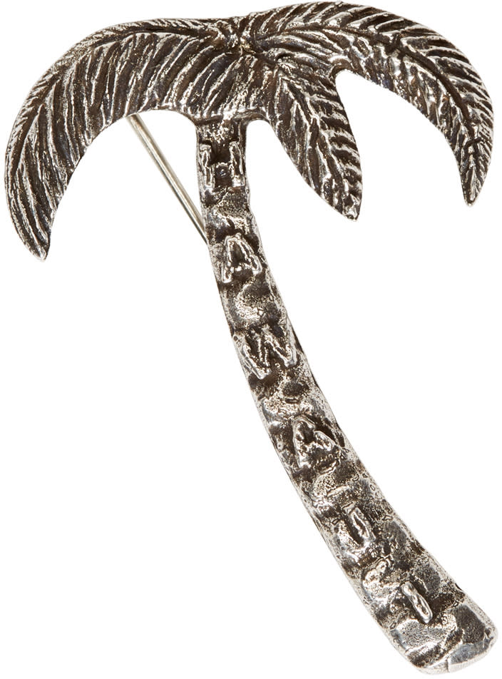 Saint Laurent Silver Palm Tree Pin