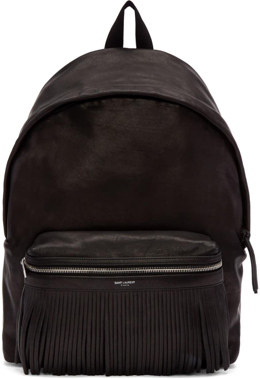 Saint Laurent Black Leather Delave Backpack