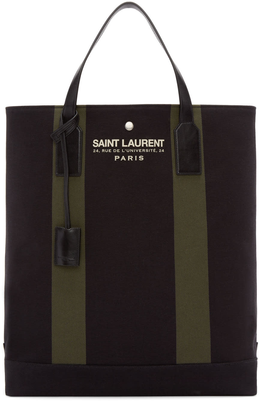 Saint Laurent Black and Green Canvas Beach Tote