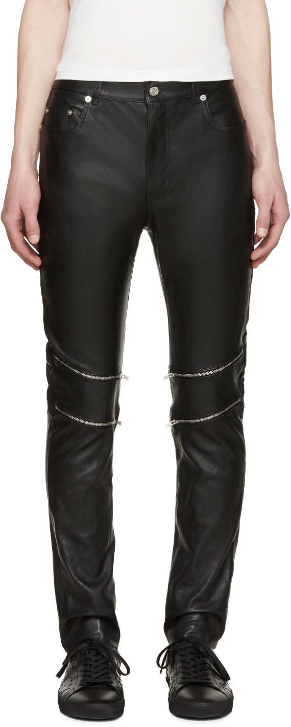 Saint Laurent Black Leather Zippered Pants