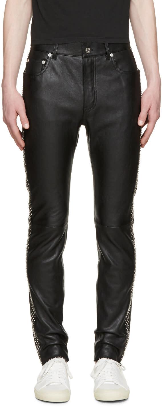Saint Laurent Black Leather Studded Trousers