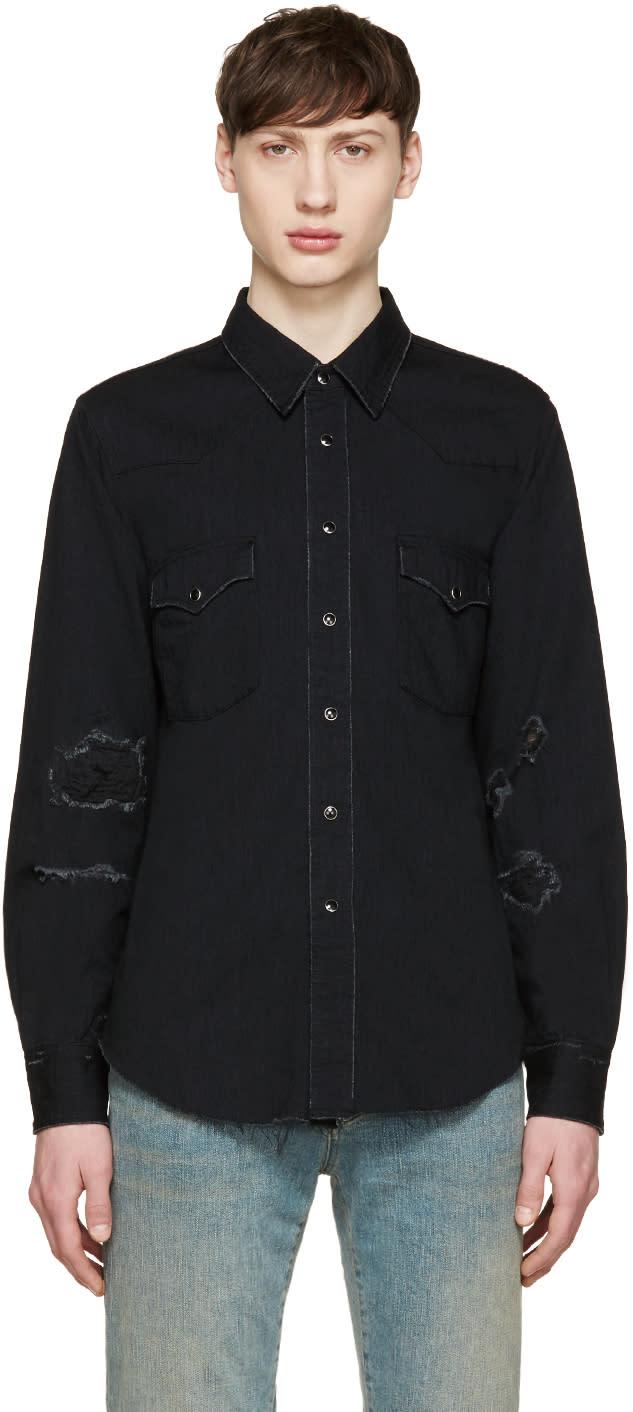 Saint Laurent Black Denim Destroyed Shirt