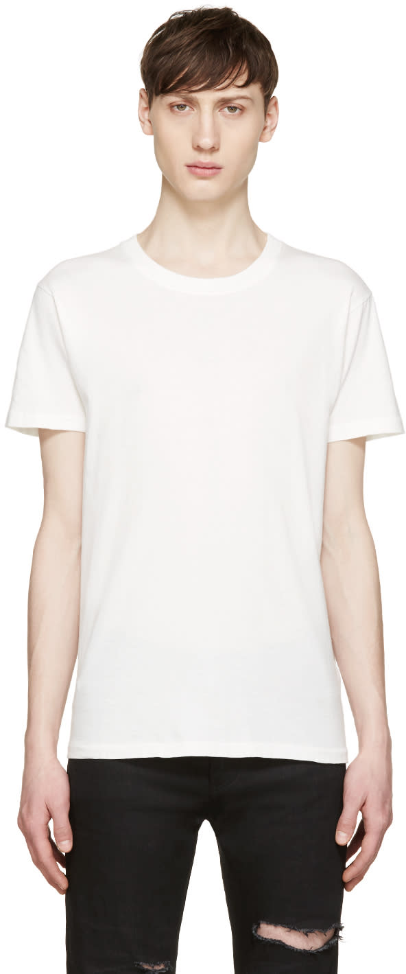 Saint Laurent White Destroyed T-shirt