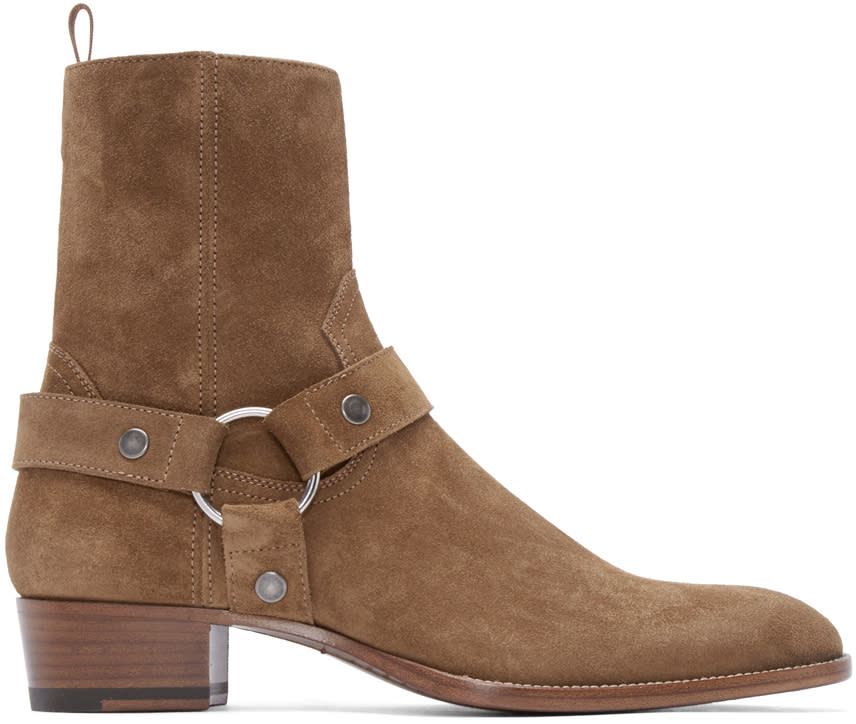 Saint Laurent Tan Suede Classic Wyatt Boots