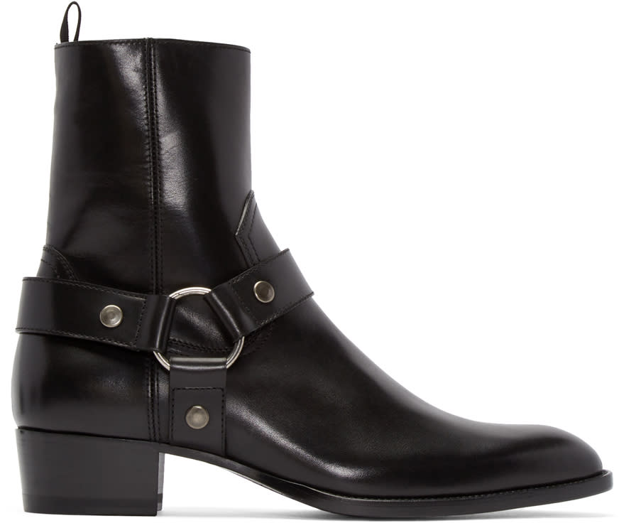 Saint Laurent Black Leather Wyatt Boots