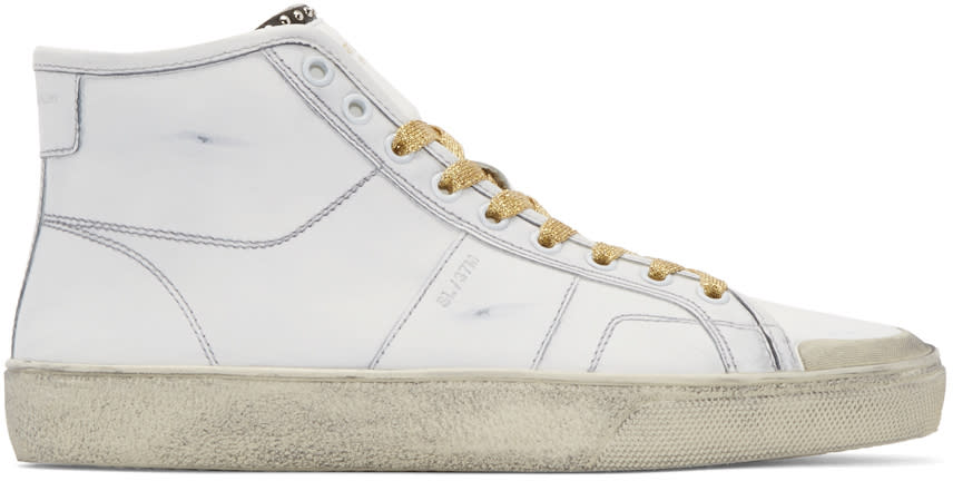 Saint Laurent White and Gold Court Classic Sl-37m High-top Sneakers