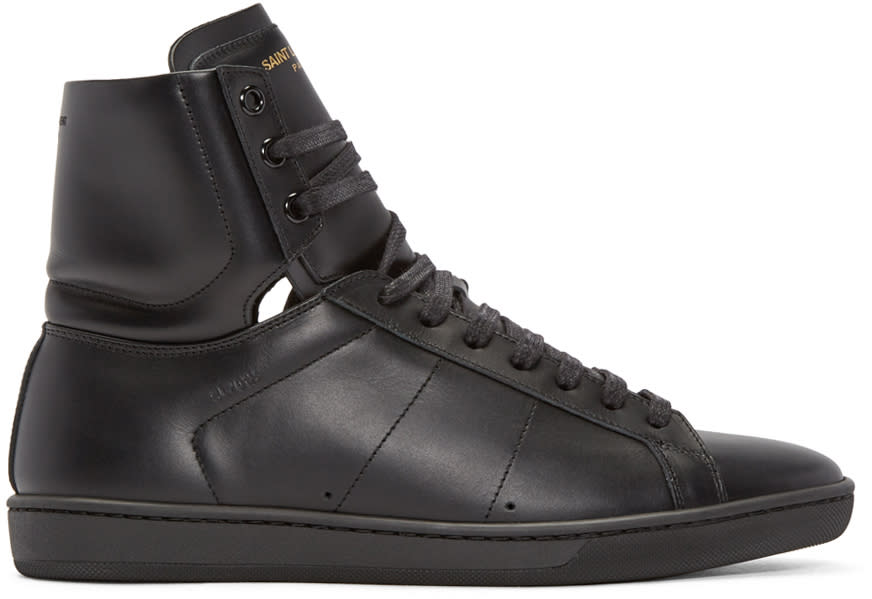 Saint Laurent Black Sl-01 Court Classic High-top Sneakers